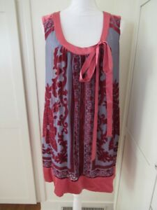 Hale Bob Gray Silk Velvet Burnout Shift Sleeveless Dress Size M