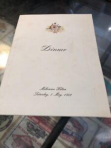 Dinner Invitation 1982 Malcolm Fraser George Bush Melbourne Hilton
