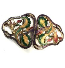 BEAUTIFUL Art Nouveau Guilloche Enamel Gold Gilt Belt Buckle