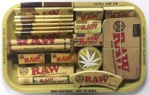 Raw Small Medium Rolling Tray Kit Gift Set Classic Organic Hemp Tips Grinder Tin