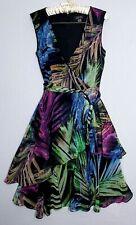 Tahari ASL Dress Size 6 Multicolored Leaf Print Sleeveless Party Formal wear