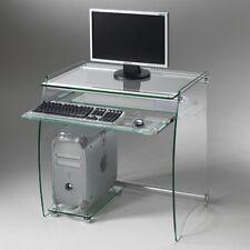 Scrivania computer PORTA PC in VETRO Clear - Piano tastiera estraibile