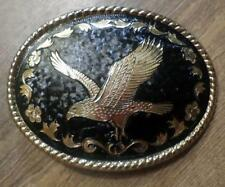 Very Nice Black & Gold Bald Eagle Western Belt Buckle USA Made marked W R2