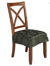 Christmas Ribbons Damask Seat Covers in Olive, Set of 2