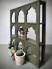 More details for antique vintage indian furniture. 9 mughal arched display unit. khaki green