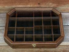 Vintage Wood Shadow Box Hanging Curio Miniature Display Case Glass DoorOctagon