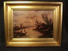 Tableau HSP Paysage Pêcheurs sur Barque Moulin Clair Obscur XIXème Signé Rantz.