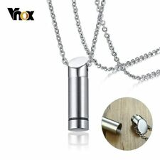 Vnox Hollow Tube Ashes Keepsake Men Necklaces Stainless Steel Pendants for