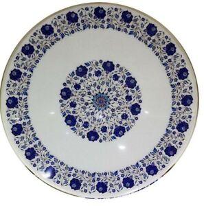 """24"""" Marble coffee Table Pietra dura semi precious lapis stones art Inlay Work"""