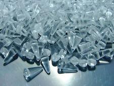 20pcs Czech Spike/Cone Glass Beads Size 4x10mm Crystal