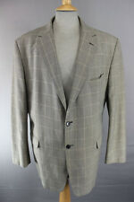 CLASSIC MARKS & SPENCER CHECKED BEIGE TWEED JACKET 46 INCH (LONG FIT) XL