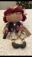 GIrL With ToY SolDier PRimiTive  FoLk Art Plush Decor Doll CoUntry FaBRic