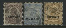 Kuwait 1923 overprinted KGV  1 12, 3, and 6 annas used