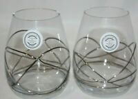 Romania Wine Glass Pair Stemless Wine Glass Set Stil Glass Gold Green New