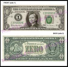 10 LOT-HILLARY CLINTON US MONEY ZERO-Dollar Bill For President Bookmark Novelty