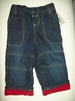 Toughskins Boys Jeans Size 12 Months denim Red Fleece Lined For Rugged Boys