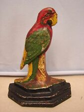 Antique Cast Iron Parrot Door Stop  Macaw no. 30 Attributed to Hubley