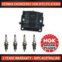 4x Genuine NGK Spark Plugs & 1x Ignition Coil for Toyota Corolla Holden Nova