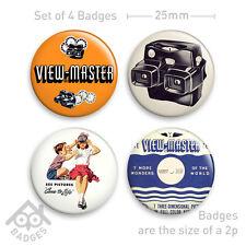VIEWMASTER Reel Viewer Advert - Set of 4 x 25mm Badges - Set 2