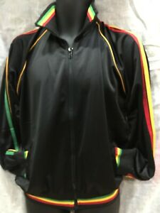 RED YELLOW GREEN  STRIPES ON SLEEVES - COLLAR & HEM - PLAIN BLACK TRACKSUIT TOP
