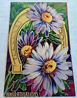 Daisies and Horseshoe Congratulations Postcard Printed in Germany Embossed