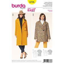 Burda style Super Easy SEWING PATTERN 6736 Misses Coat & Jacket 8-20