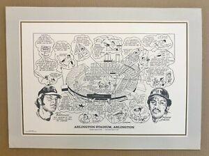 "Texas Rangers "" ARLINGTON STADIUM "" Historical Lithograph Print 22"" x 17"""