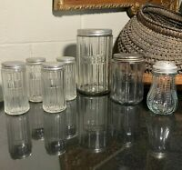 7 Sellers / Hoosier Cabinet Jars or Canisters Coffee, Tea, Sugar Shaker & Spices