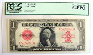 1923 $1 UNITED STATES NOTE PCGS 64PPQ VERY CHOICE NEW LEGAL TENDER FR.40