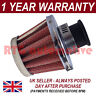 12mm AIR OIL CRANK CASE BREATHER FILTER MOTORCYCLE QUAD CAR RED & CHROME CONE