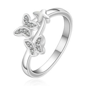 Silver Plated 925 Butterfly Detail Crystal CZ Eternity Statement Ring Size Q / 8