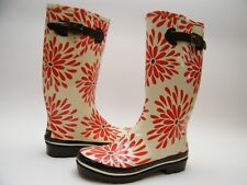 WOMENS KATE SPADE RED WHITE BROWN FLORAL FLOWER  RUBBER RAIN BOOTS SZ 10
