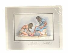Divine Servant Signed Print Religious Jesus Washing Peter Feet By Greiner New
