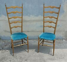 HIGH STYLE 1950'S ITALIAN EXAGGERATED LADDER BACK CHAIRS MANNER OF GIO PONTI