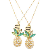 Lux Accessories Gold Tone Summer Sisters Pearl Pineapple BFF Necklace Set