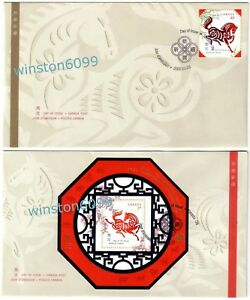 Canada 2002 Zodiac Lunar Year of the Horse, 1v Stamp + MS on 2 FDC (pair)
