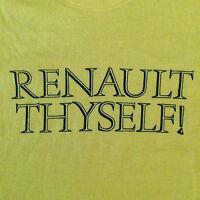 Vtg 80s Renault Thyself T Shirt XS/S Yellow Soft Screen Stars Car Olde Font