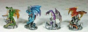 Set of 4 Assorted Dragon Miniature Figurines DRAGPAC2 - B 9319844524209 NEW