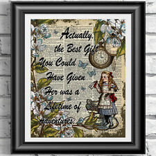 Alice in Wonderland Quote Print Vintage Dictionary Picture Wall Art Adventure
