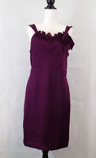 Ann Taylor Loft Dress Size 10 Purple Floral Ruffle Applique Cocktail Wedding