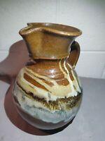 Vtg Mid Century Modern Studio Art Pottery Ceramic Signed Bottom Glaze Pitcher