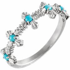 Turquoise Cross Ring In Platinum