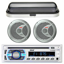 New Marine CD USB Stereo Receiver Pair of Silver Speakers w/Splash proof Cover