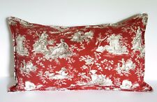 "french country toile pillow cover 12""x 20"" red cotton home decor fabric"