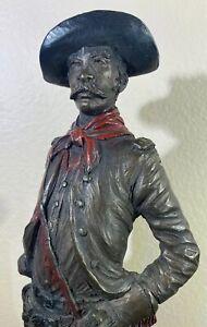 Vintage Chalkware Bronze FInish Cowboy Sculpture Austin Productions 1973 Signed