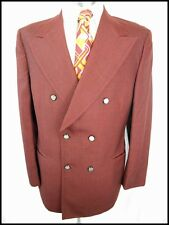 Vintage 60s 70s Burgundy Wool Blend Double Breasted 'Mens Corner' Jacket 38 Mod