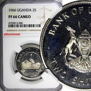 Uganda PROOF 1966 2 Shillings NGC PF66 CAMEO 1 YEAR TYPE TOP GRADED KM# 6