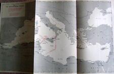 ORIGINAL NAVY WAR MAP MEDITERRANEAN NAVAL & AIR COMMAND AREAS & SUBMARINES 1943