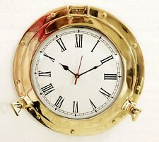 Antique Marine Brass Ship Porthole Analog Clock Nautical Wall Clock Home Decor