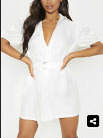 Influence Shirt Dress Size 8 & 12 Belted Cotton Puff Sleeve White New GX10